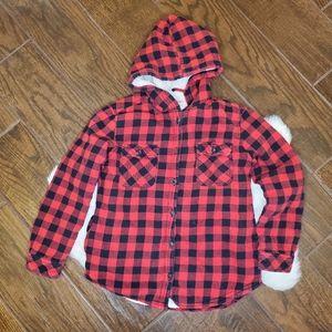 Red Buffalo check sherpa lined kids jacket M 10-12